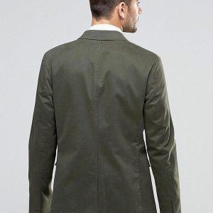 Skinny Blazer in Washed Cotton in Khaki