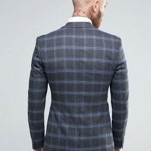 ASOS Skinny Blazer in Grey And Blue Check