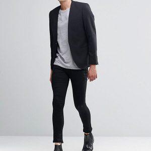 Skinny Lapelless Blazer with Stretch