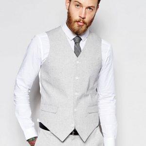 Slim Suit In Grey Nepp Fabric