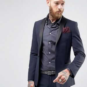 Super Skinny Fit Tuxedo In Navy Blue